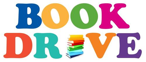 Rainbow Colored text: Book Drive