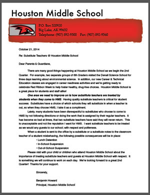 Letter from Principal Howard