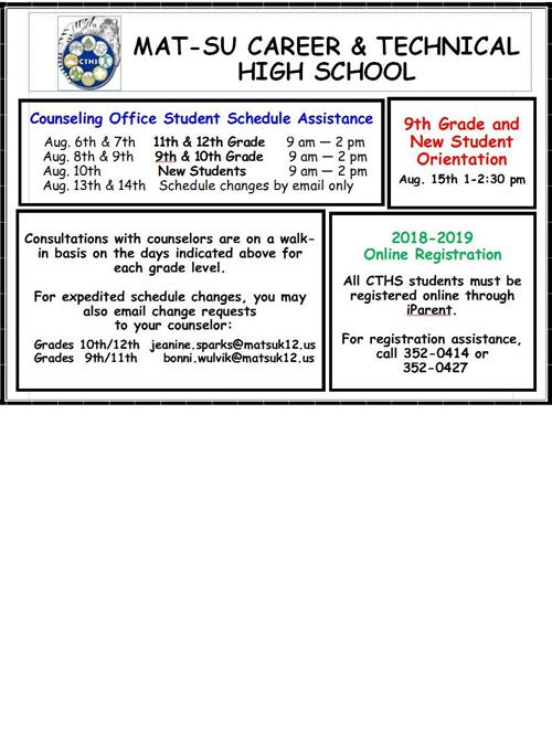 Scheduling and Orientation Dates