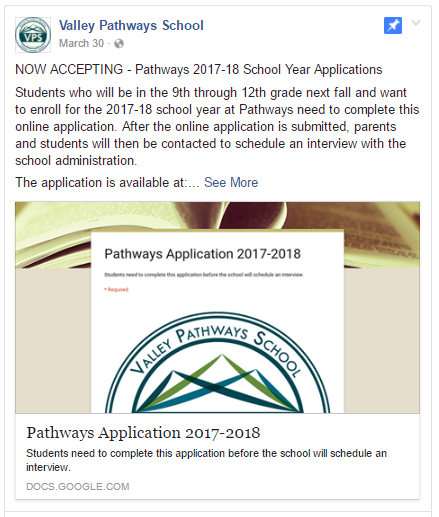 Valley Pathways Application 2017-18