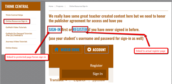 step 2 create the sign in link and register link on the page