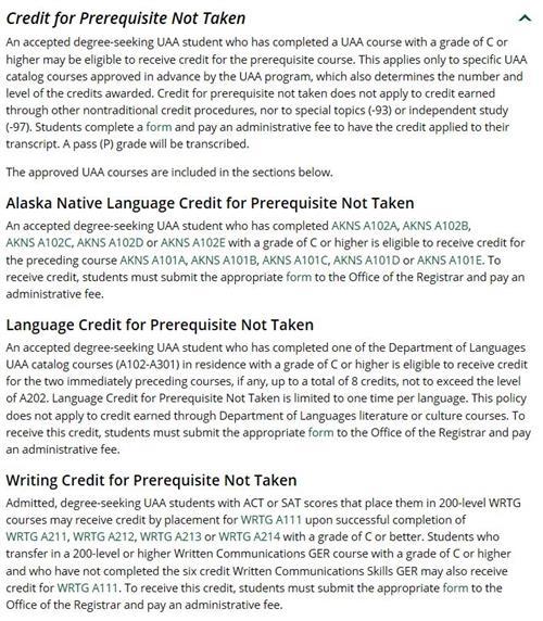 UA Credit Option Policy